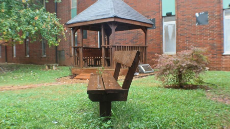 Although it is an odd site to see, the Gazebo by the 600s hall is abandoned during lunch hours. Usually, students use this site to enjoy their meal. However, the rainy weather has put a damper on the scenery. The Gazebo may be able to provide its shade Thursday as weather is expected to be mostly sunny.