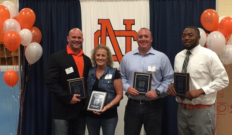 The four alumni inducted into the North Cobb Athletic Hall of Fame were (from left to right): Skip Shipp, Sherri Circle-Parker, Joey Davis, and Eric Norwood.