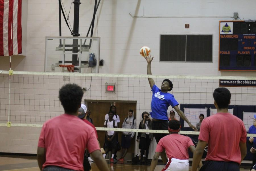 During the games, players showed off their best volleyball skills. Sophomore Keanu White is pictured here spiking the ball for the We Don't Take L's team.