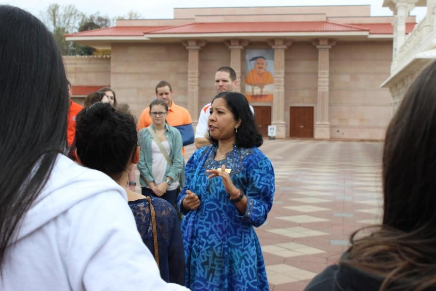 Tour guide Jaibala Raval speaks to NC students on the temple's history, and explains the religious and cultural rules. The temple itself was finished in 2007 and serves the entire southeastern United States.