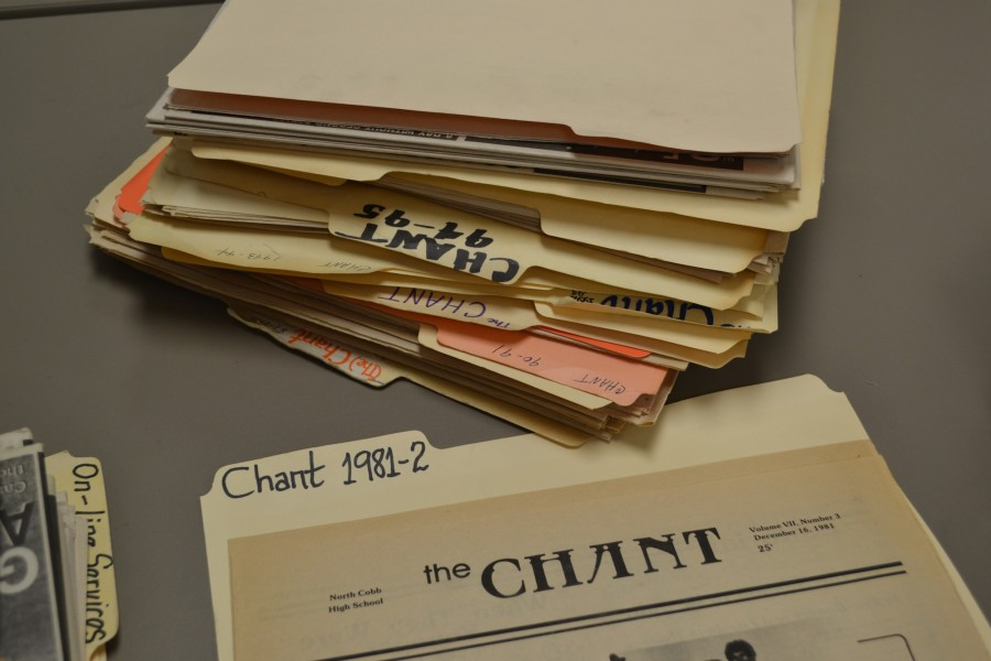 The Chant newspapers, dating from the 1981- 1982 school year, garner expressed excitement from the 2015- 2016 Chant staff.