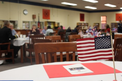 Mini flags posted throughout the media center provided patriotic spirit.