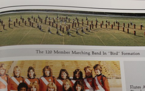 "NC's 1986 marching band forms a ""Bird"" pattern during on of their practices after school on the football field."