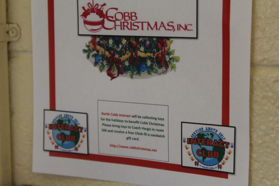 The NC Interact club has begun collecting toys for Cobb Christmas. Coach Hargis will handle the donations in room 206, and donors will receive a gift card for a free Chick-Fil-A sandwich.