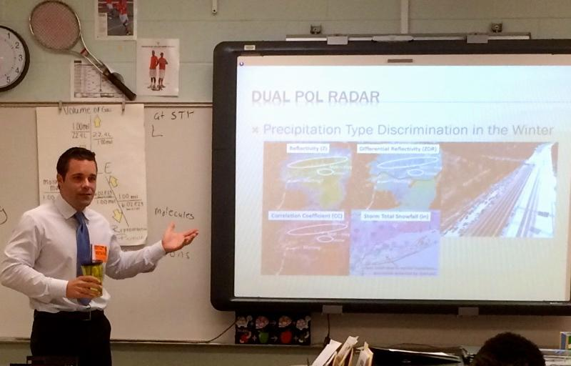 WSB meteorologist Brian Monahan speaks to Mr. Wood's first period earth systems class about the weather and broadcasting.