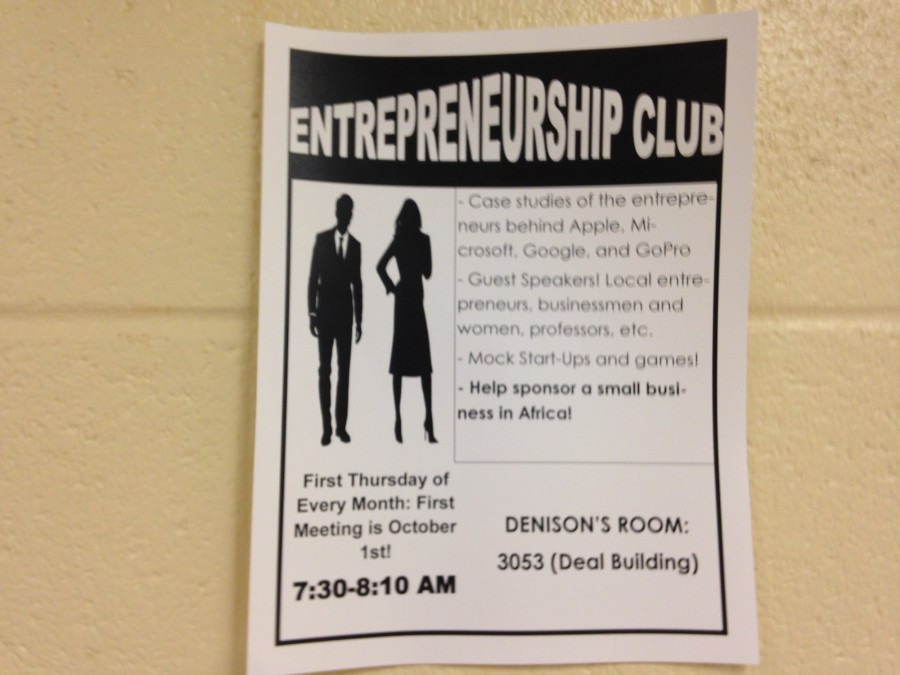 Fliers are posted around NC promoting Entrepreneurship Club and provide helpful information regarding meetings.
