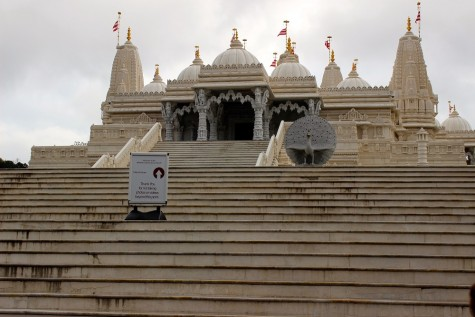 The BAPS Shri Swaminarayan Mandir's shrines, carved out of marble and limestone. The peacocks, the national bird of India, situated on the steps before the temple symbolize prosperity and good luck.
