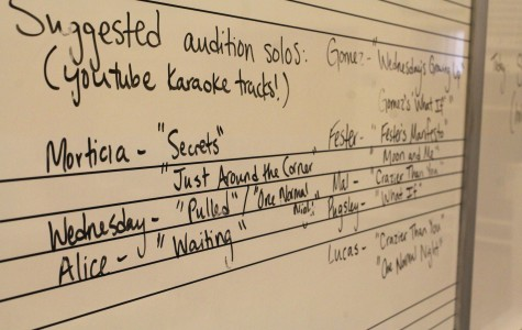 """The board in the chorus room details the songs students will need to sing to audition for a part in the musical. """"They need to go online and look up the musical so they can get a whole list of all the songs and if they want a main character  they need to look up  their solo pieces in the musical and really focus on those, but if they want to be just in the ensemble, they still have to sing, so they have to listen to the ensemble pieces of the soundtrack,"""" said Ms. Botella."""