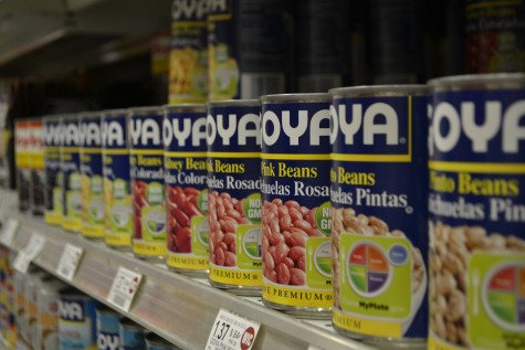 Goya products, a company specializing in Spanish and Mexican products, line the shelves of a Publix.