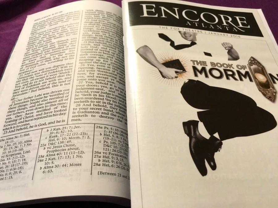 The Book of Mormon vs. the musical. As the musical satirizes Mormonism, it pulls from real beliefs stated in the holy book.