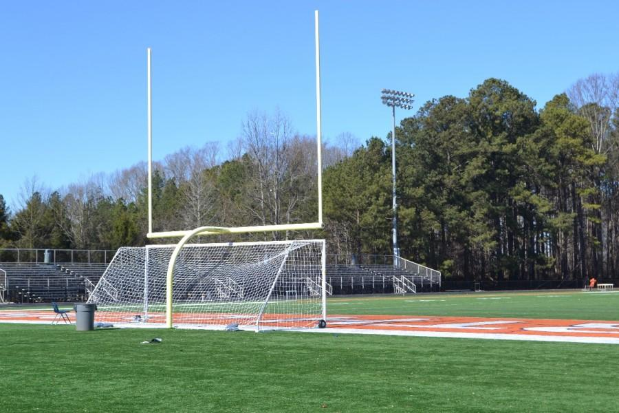 In a surprising scene, NC's football field is not being used for physical activities outdoors, as the 30 degree Fahrenheit weather prevents coaches and students from being able to go outside. Instead, students perform their activities indoors using the school gyms.