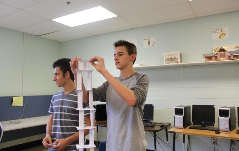 """Mr. Cogbill's Engineering class worked on designing a tower using only 20 index cards. """"I thought it was interesting to see everyone else drop their towers. It was a very thought provoking assignment,"""