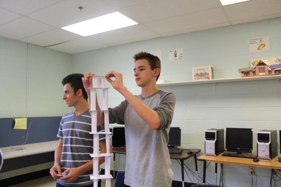 """Mr. Cogbill's Engineering class worked on designing a tower using only 20 index cards. """"I thought it was interesting to see everyone else drop their towers. It was a very thought provoking assignment, said Junior Matthew Isneeto."""