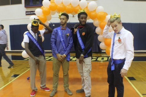 A pep rally on Friday helped get students about the upcoming game that night. Senior Maliel Nwachkwu, pictured left with fellow seniors Bryce Folson, Kenny Ume, and Will Stallings, was crowned the 2016 Hoopcoming king.