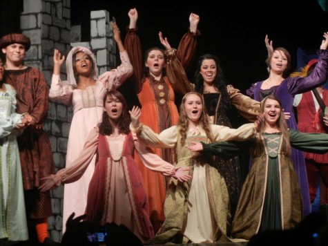 Franks performs in her first musical, Once Upon a Mattress, in her freshman year.