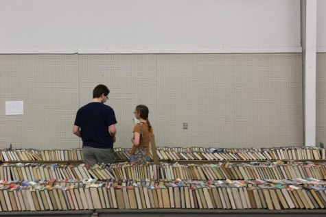An immense variety of literature covers the table tops throughout the two storage units in which the sale takes place.