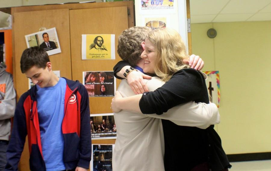 Kovel and her brother, Adam, share emotions after hearing she won NC's Teacher of the Year.