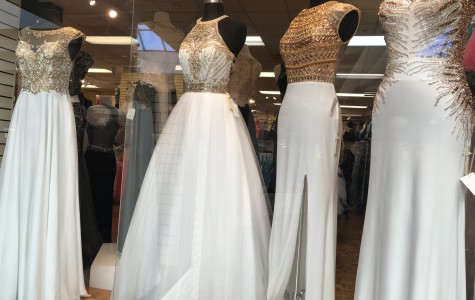 "Similar dresses like these displayed at ""Paris"" in Town Center Mall can be found on Amazon for a more affordable price."