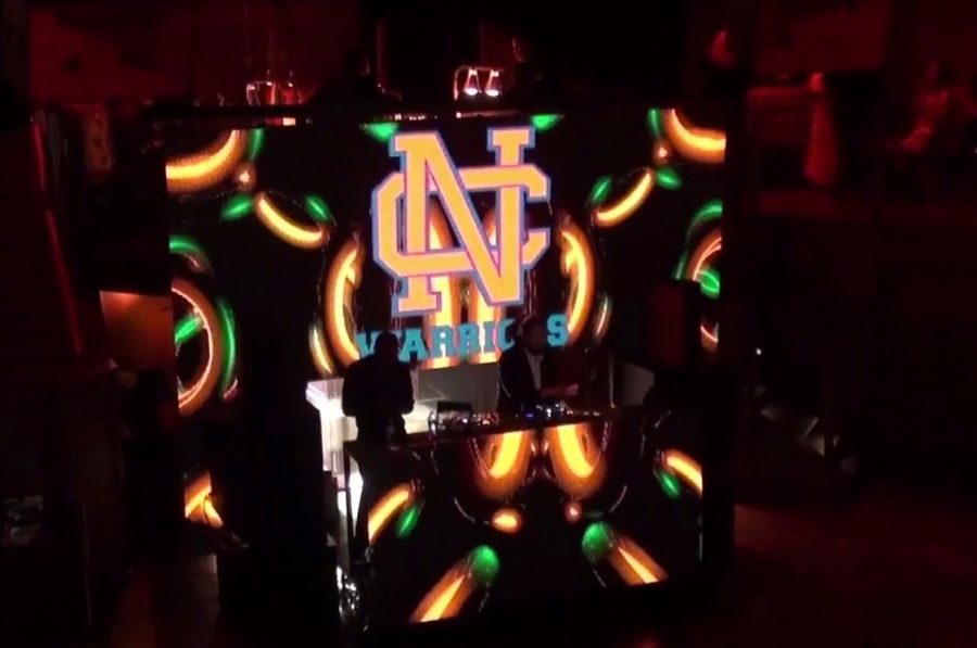 The DJ's booth proudly displayed the NC logo as juniors and seniors danced the night away.