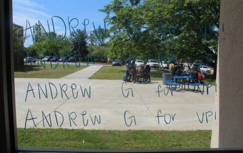 "Elections are being held at NC this week, and students are coming up with new and creative ways to gain votes. Senior vice presidential candidate Andrew Gasparini took his campaign to the lunchroom, covering almost all the windows with his slogan, ""Andrew G for VP!"" Voting for president and vice president will be held tomorrow morning in homeroom."