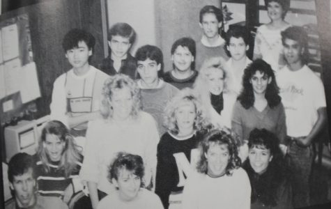 The NC Newspaper Staff from 1989 poses for their photo in the yearbook. The staff has remarkably grown in size since this year.