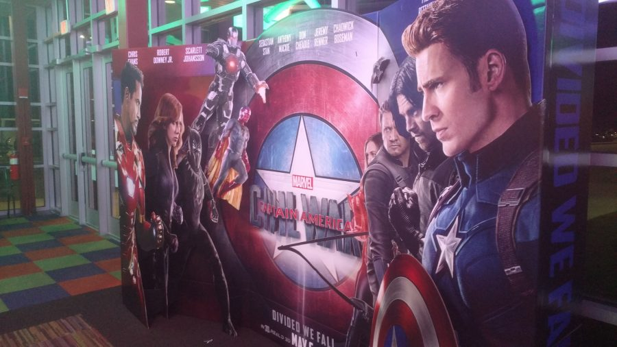 Movie theaters across the nation set up exciting promotions for Captain America: Civil War, which hit theaters May 6, 2016.