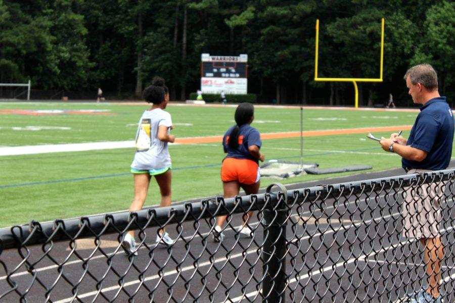 """Personal fitness springs into action starting August 9, 2016. To start the year, students take a pretest, including running the Pacer and the mile. """"You guys better be prepared to work this semester!"""" NC Coach Tom Clark said."""