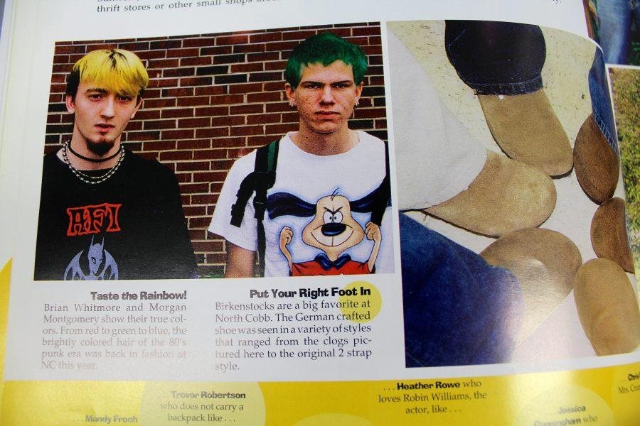 Two+boys+show+off+their+true+colors+with+dyed+hair+at+NC+in+2003.+The+year+ushered+in+a+revival+in+80%E2%80%99s+punk+fashion%2C+as+well+as+the+popularity+of+Birkenstocks%2C+which+remain+fashionable+today.