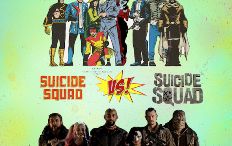 The comparison between the comic Suicide Squad and the movie Suicide Squad.