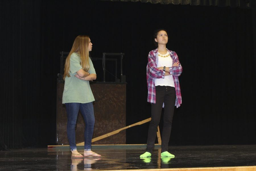 Sophomores Isabella Keaton (Norma Henshaw) and Hope Kutsche (Luella Bennett) bicker onstage as they rehearse the show.