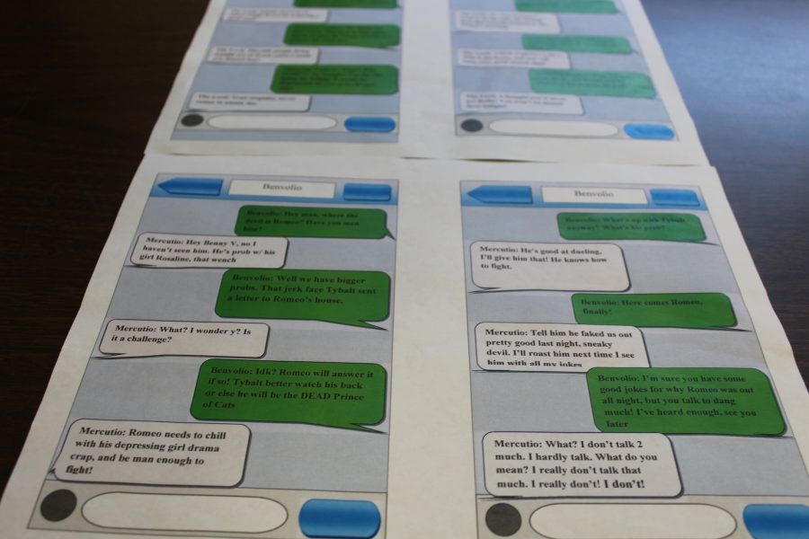 Students use evidential text messages between Benvolio and Mercutio, as well as The Lord and his Annoying Nephew.