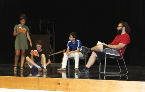 Freshman Maddie Hewitt (Goldie Short), junior Jordan Hicks (Buddy Layman), senior Emmett Schindler (C.C. Showers), and senior Alex Klinkert (Ferris Layman) rehearse The Diviners by Jim Leonard, Jr. in NC's main theater.