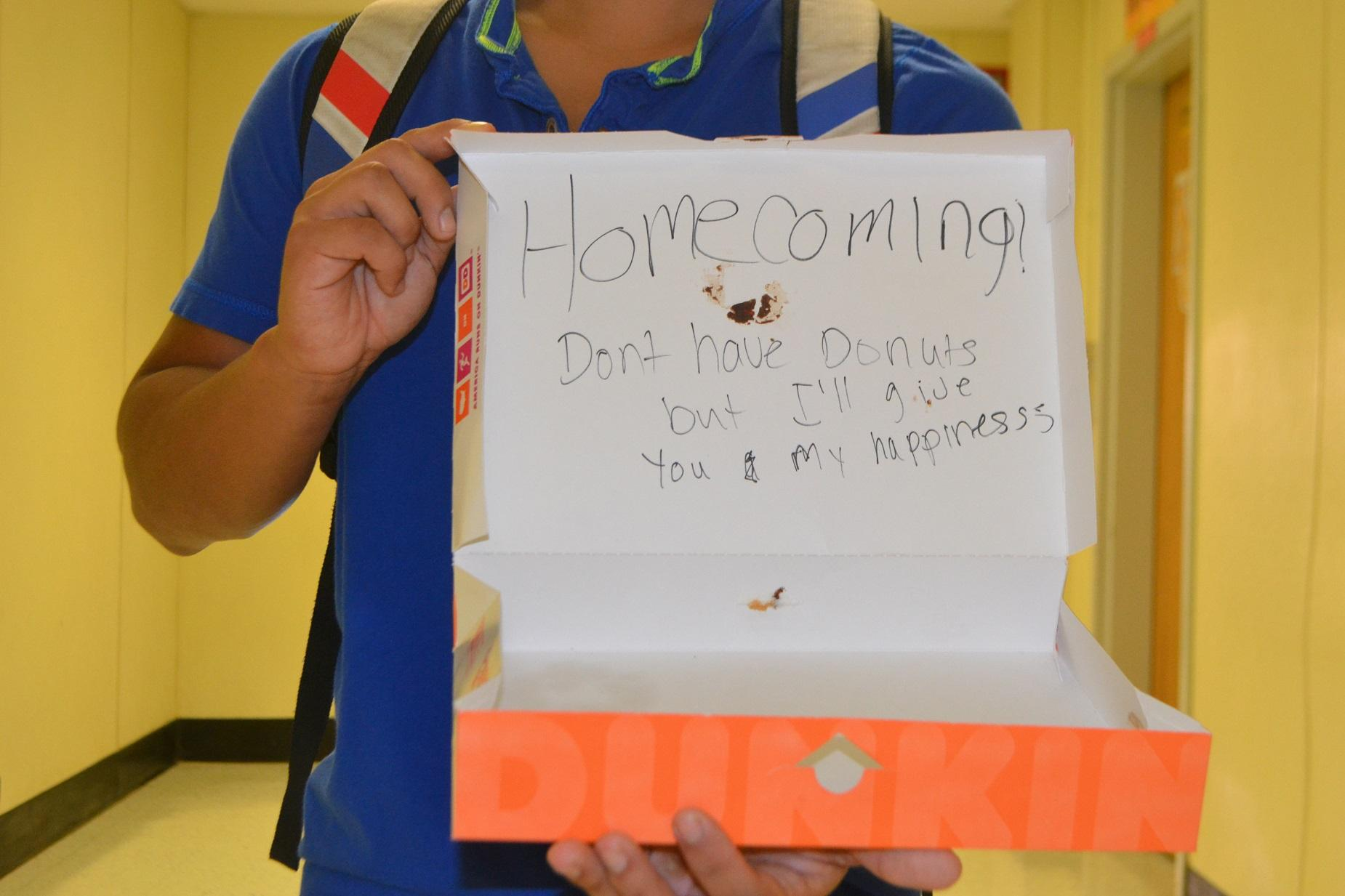 A senior asks out a significant other to Homecoming with an empty donut box. As the dance approaches, North Cobb students channel their creative side to construct imaginative and funny Homecoming proposals.
