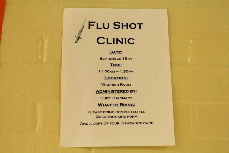 With+flu+season+rapidly+approaching%2C+Huff+Pharmacy+will+administer+vaccinations+in+the+Warrior+room+on+September+16.+Students+and+faculty+who+wish+to+receive+a+vaccination+must+bring+a+flu+questionnaire+and+a+copy+of+their+insurance+card.