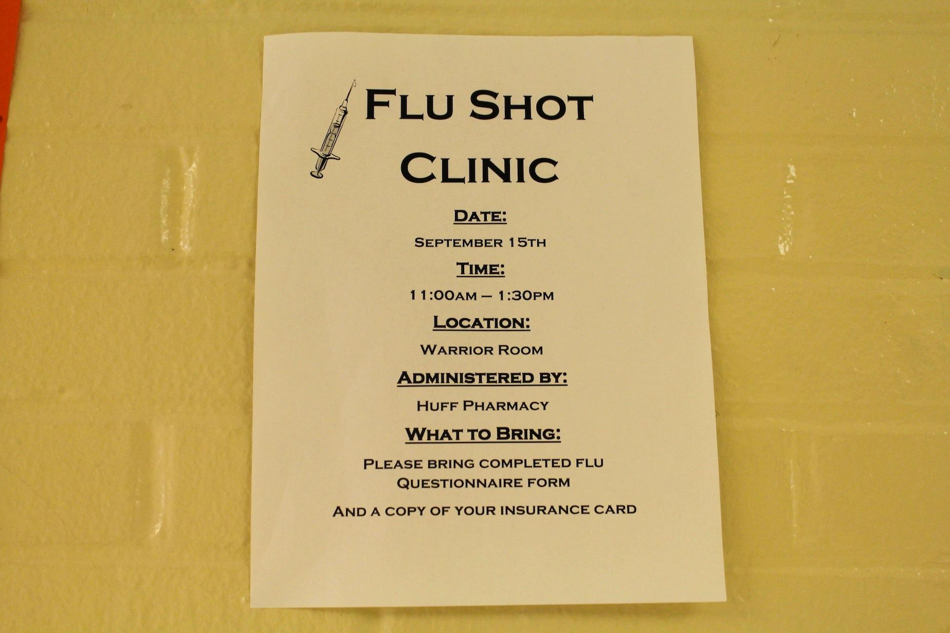 With flu season rapidly approaching, Huff Pharmacy will administer vaccinations in the Warrior room on September 16. Students and faculty who wish to receive a vaccination must bring a flu questionnaire and a copy of their insurance card.