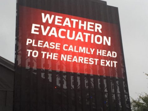 Weather Evacuation warnings advised attendees to go to the nearest exit.