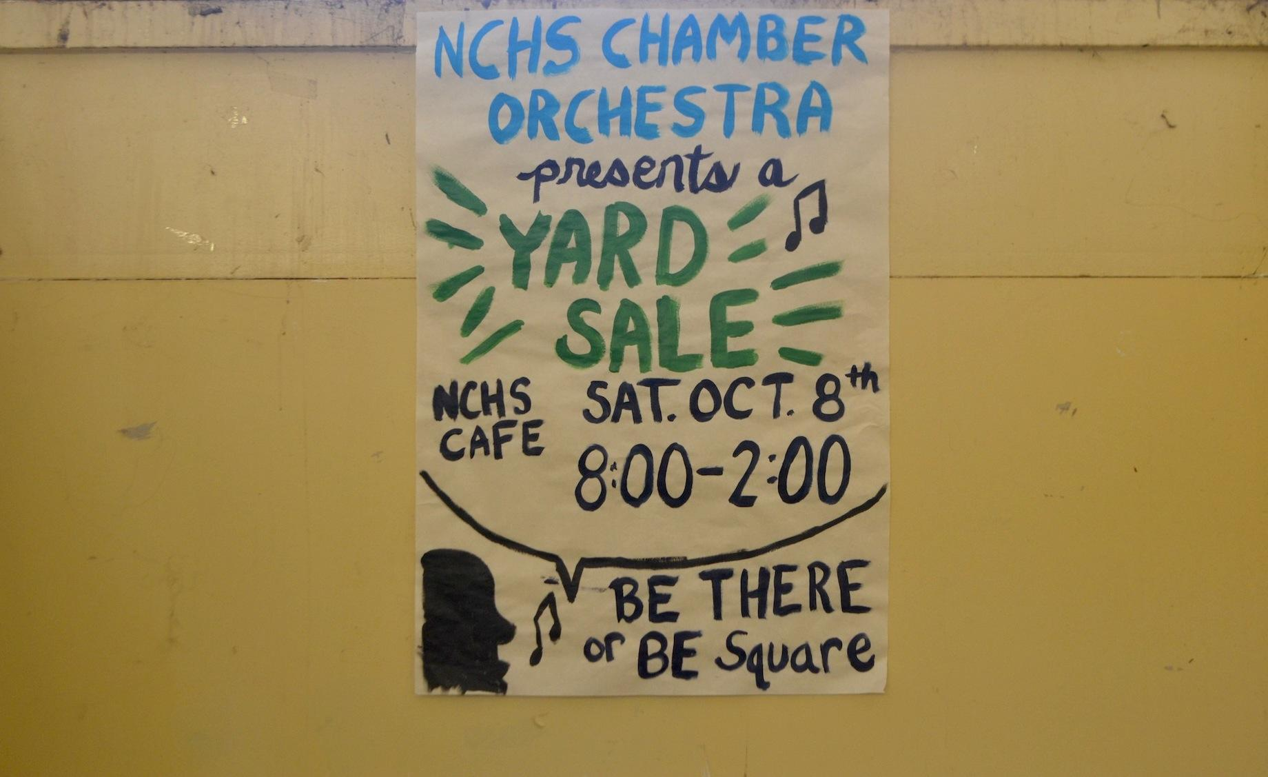 The NC Chamber Orchestra will hold a yard sale on October 8 from 8 a.m. to 2 p.m. in the cafeteria to raise money for the program.