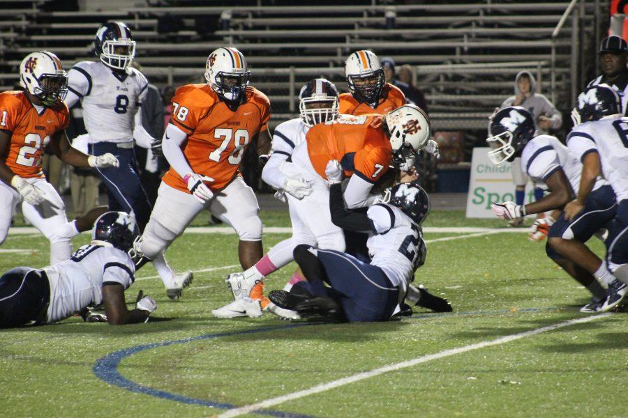 #7 Will Lovett takes it himself up the middle, edging closer to the end-zone.