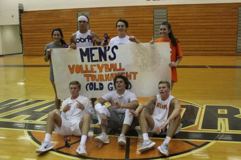 Students Cassidy Hurley, Hunter Parrish, Dylan Stanhope, Shannon Callan, Bradley Squires, Will Lovett, and Brett Squires from the winning team, The Finesse Kids, pose for the glorifying picture to represent their win.