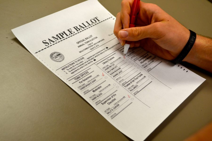 A voter fills out a sample ballot.
