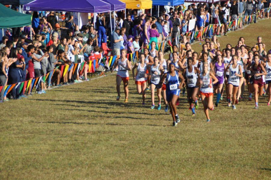 The pack of girl runners race their way to the finish, with many of the ones leading wearing NC colors.