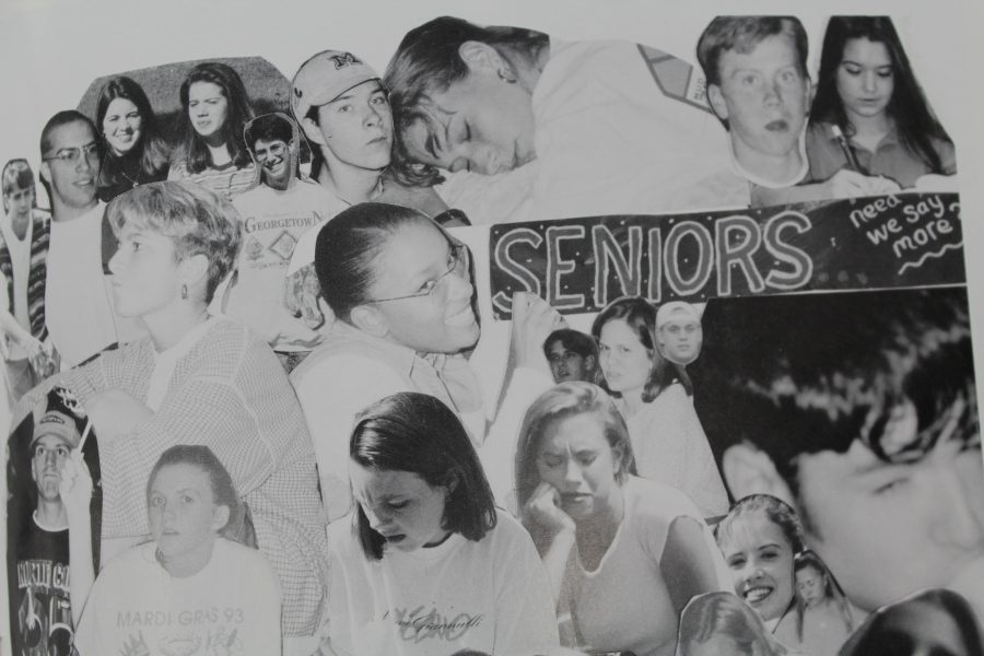The 1995 NC yearbook features an entire page of seniors goofing off. The page, laid out in a cut and paste format, shows the class dozing off, making faces of distaste, and sporting silly expressions.