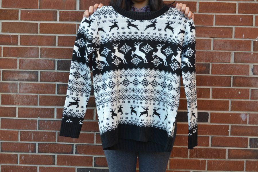 A thrifty NC student picks up a cute Christmas sweater for the holiday season.
