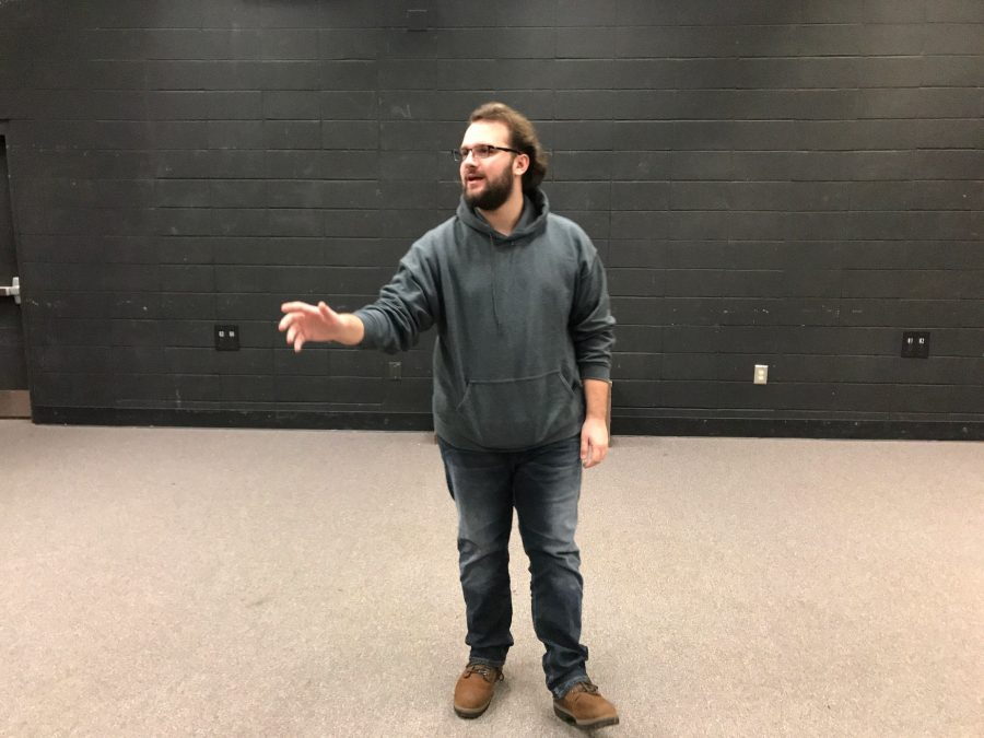 Senior Alexander Klinkert performs his monologue to audition for NC's spring musical, 25th Annual Putnam County Spelling Bee.