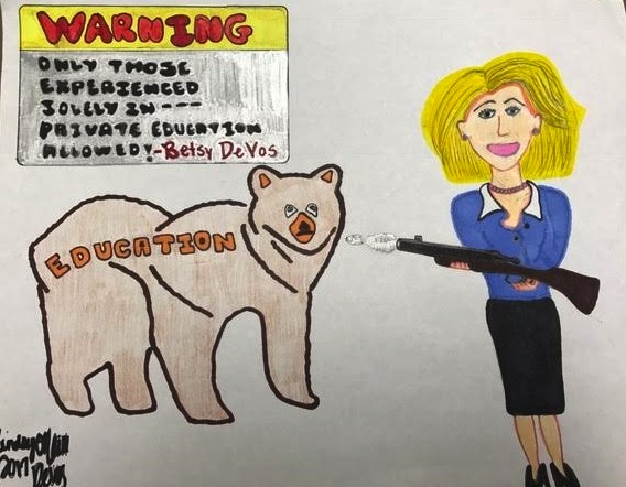 "In her Senate hearing, DeVos stated that she believes states should hold the authority to determine whether or not schools should carry guns for safety purpose. She cited a school in Wyoming that probably possessed a gun ""to protect from potential grizzlies."