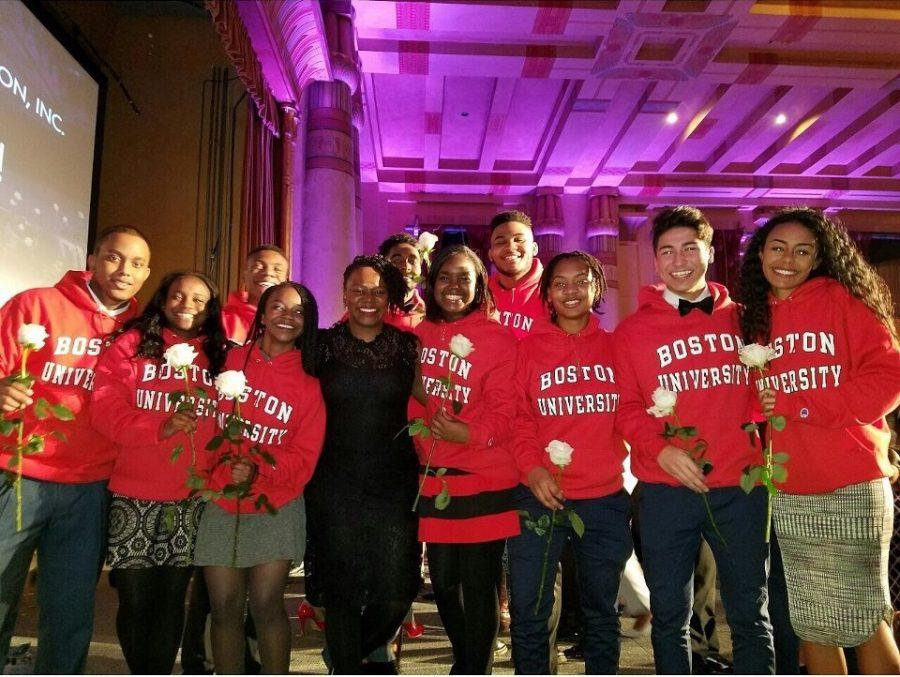 Senior Kesha Perkins (center) smiles with her posse at their acceptance ceremony on January 5 at the Fox Theatre. After months of interviews, the Boston  scholars become a close-knit group.