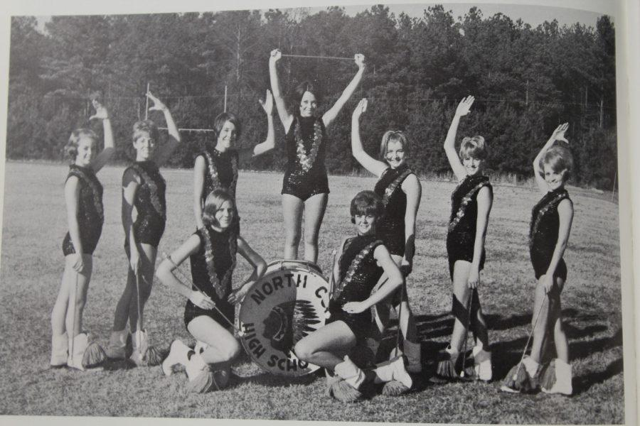 NC marching band alumni majorettes pose for a group photo in the 1969 Panorama yearbook. The girls featured in this photo were the visual for the marching band and were the original twirlers of the marching band. They added more pep to the marching band and football games, anyone missing football season now?