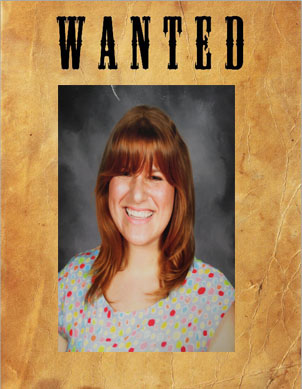 """WANTED: Lindsay Theaker, for starting a Harry Potter Revolution in her Warrior Wednesday Harry Potter Connections class. Theaker's whereabouts are unknown; any information regarding her location will be rewarded with a free """"Get out of Detention"""" card."""