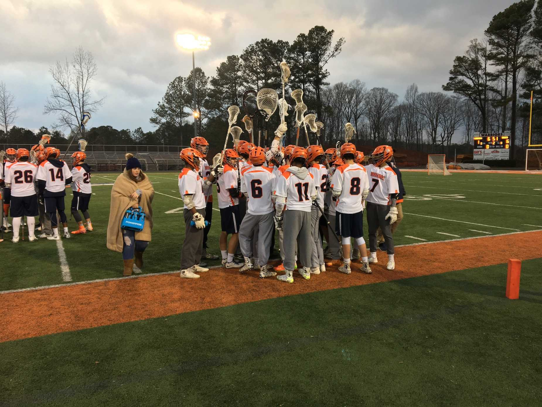 The NC Varsity boys Lacrosse team played against the Hillgrove Hawks on Tuesday night, March 14, losing 14-4.