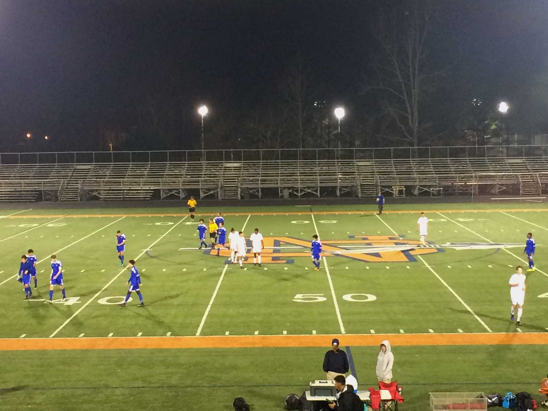 NC's men's varsity soccer team challenged the McEachern Indians on Tuesday, February 28, 2017.